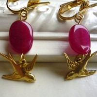 Raspberry Quartz Clip On Earrings - Sparrow Charm - Dangle Clips - Dark Pink and Gold