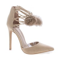 Kiola Nude F-Suede by Shoe Republic, Nude Suede D'Orsay Pom Pom Ankle Wrap Stiletto Heel Sandals