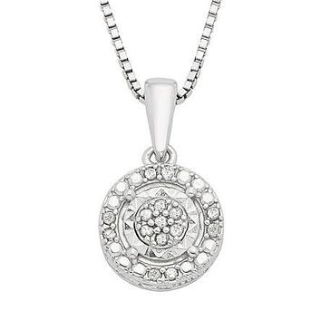 Sterling Silver .10 CTTW Diamond Halo Pendant