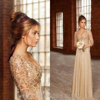 Fashion Beaded Champagne Prom Dresses Girls Chiffon Prom Dress Long Sleeve Empire V Neck Prom Gowns Cheap Party Dresses RM103