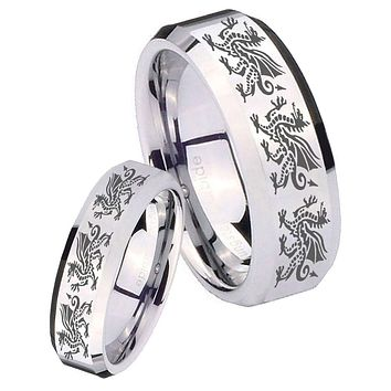 His Her Mirror Beveled Multiple Dragon Silver Tungsten Wedding Rings Set