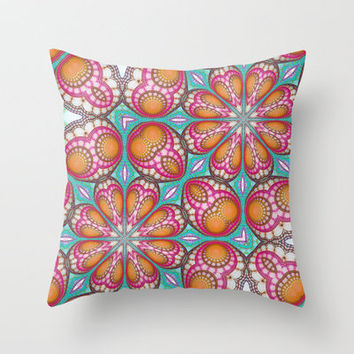Retro Hippie Crochet Lace Case Throw Pillow by Desirée Glanville | Society6