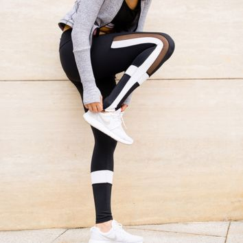 Dropshipping Women Black & White Color Contrast Sports Yoga Pants See Through Mesh Workout Clothes for Women Running Tights