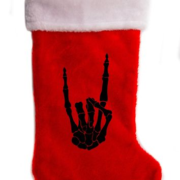"Skeleton Hand Metal Sign Christmas Holiday Stocking 17"" Red/White Plush Hanging Sock Santa Stuffer Merry Gothmas"