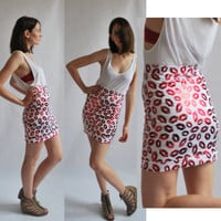 Valentines Day Red kiss lips - high waist women bandage skirt