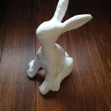 Hare Sculpture/ Paper Mache Sculpture/ Papier Mache Sculpture / Moongazer/ White hare sculpture