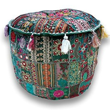 """Rajasthali"" Indian Traditional Home Decorative Multi Ottoman Handmade and Patchwork Foot Stool Floor Cushion, Size 14 X 18 X 18 Inches"