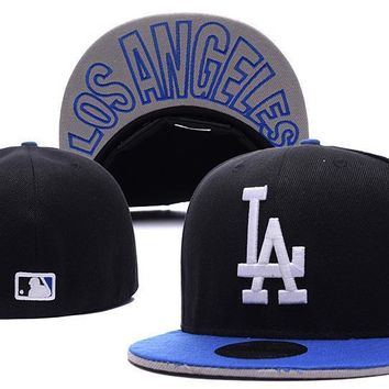 PEAPON Los Angeles Dodgers New Era MLB Authentic Collection 59FIFTY Cap Black-White LA