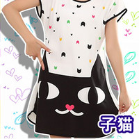 New Famous Black Cat Korean Style Round-Neck Spring and Summer Home Clothes Free Size KK404