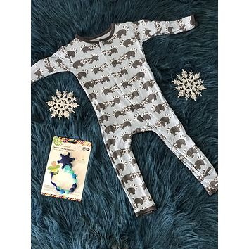 Kickee Pants Boys Print Coverall ( Pond Raccoon )