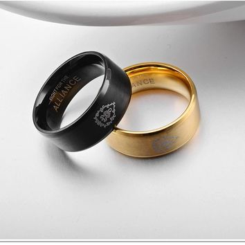 Fashion World of Warcraft Tribe Jewelry Ring Gold-color L316 Stainless Steel Women Game Legend Of League LOL the Rings Men Gifts
