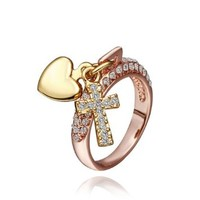18K Rose Gold Plated Swarovski Elements Crystal Heart and Cross Ring, Size 8
