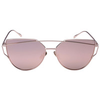 Rose Gold Double High Bar Detail Tinted Cat Eye Sunglasses
