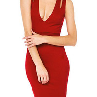 Red Plunging Bodycon Dress