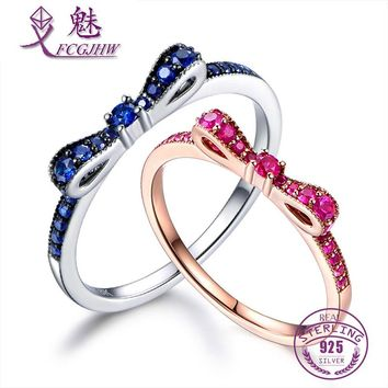 Rings For Women 100% Sterling Silver 925 Fine Jewelry Blue Spinel Sparkling Bow Knot Stackable Korean Style Cute For Girls
