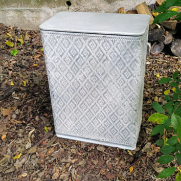 Vintage Fifties White Wicker Hamper Diamond Pattern