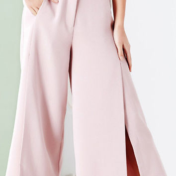 Solid Color Front Slit Loose-Fit Capri Pants