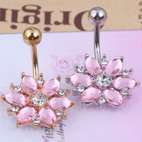 "Flower Belly Button Ring ""FREESHIPPING"""