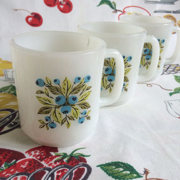 1960s Glasbake Blueberry Mugs Vintage Milk Glass Retro Kitchen