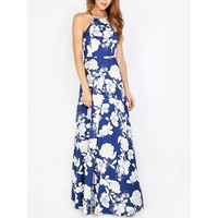 Halterneck Floral Print Maxi Dress
