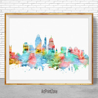 Cincinnati Art Print, Cincinnati Skyline, Cincinnati Ohio, Office Decor, Office Art, Watercolor Skyline, City Wall Art Print, ArtPrintZone