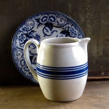 Vintage Blue and White Pottery Pitcher, Milk Jug, Water Juice Serving Tableware, Banded, Pouring Spout, Cottage Rustic Kitchen Decor