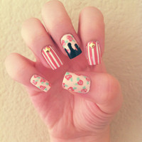 Vintage Floral and Striped Drip Acrylic Nails w/ by LetsGetNailed