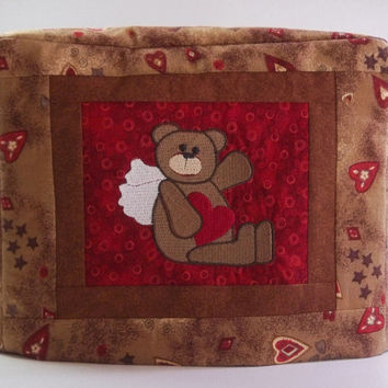 Valentine Toaster Cover - 2 slice toaster cover with Teddy Bear