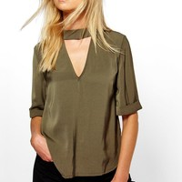 Millie 3/4 Sleeve Open Neck Blouse | Boohoo