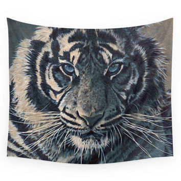 Society6 Tiger Eyes - By Julio Lucas Wall Tapestry