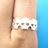 Connected Skeleton Skull with Heart Shaped Eyes Ring in Silver | US Size 6 and 7 Only