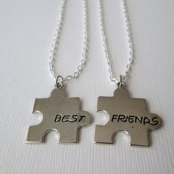 2 Puzzle Piece Best Friends Necklaces by HazelSarai on Etsy
