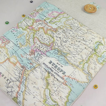 13 inch Macbook Pro Case - Macbook Air Case-Macbook Pro Case-Laptop Cover-Custom size Laptop Sleeve World Map Print and Handmade Wood Button