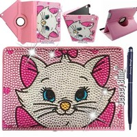 PINK Cartoon Kitty iPad 2/3/4 Jersey Bling® Crystal & Rhinestone Faux Leather Folio with Built in Stand
