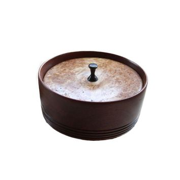 Pre-owned Inlay Sycamore & Cherry Bowl with Burl Lid