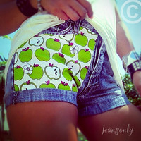 Green apple,Vintage high waisted denim cut off shorts by Jeansonly