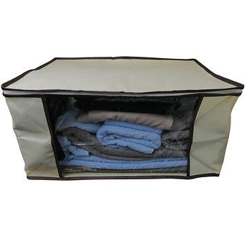 Evelots Storage Bag-Clothes/Blanket/Linen-No Dust/Mold-Clear Front-Sturdy Zipper