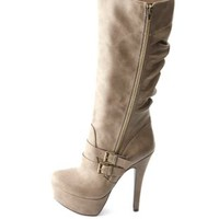 Slouchy Belted Side-Zip Platform Stiletto Boots
