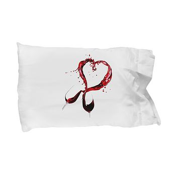 Wine Glasses Heart Lover Red Bedding Pillow Case