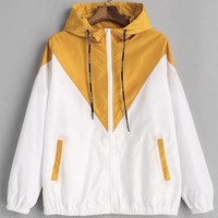 ZAN.STYLE Spring Two Tone Windbreaker Hooded Jacket Casual Long Sleeves Zipper Pockets Contrast Feminino Coats Outwear Autumn