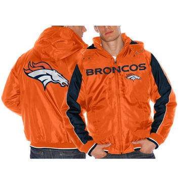 Denver Broncos Rover Full Zip Fleece Hooded Jacket – Orange