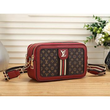 Louis Vuitton LV Trending Popular Women Shopping Leather Shoulder Bag Crossbody Satchel Red