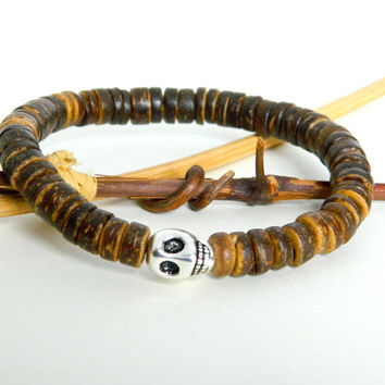 Mens Bracelet,  Brown Wood Heshi Beads, Silver Skull, Mens Jewelry, Rustic, Man stretch Bracelet, Gift for Him, Boyfriend Gift