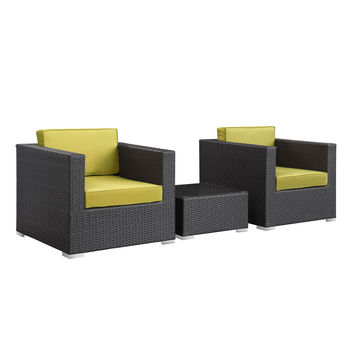 Burrow 3 Piece Outdoor Patio Sectional Set in Espresso Peridot