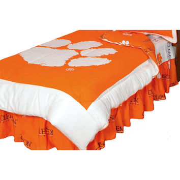 NCAA Clemson Tigers Comforter Set Cotton Bedding: Full