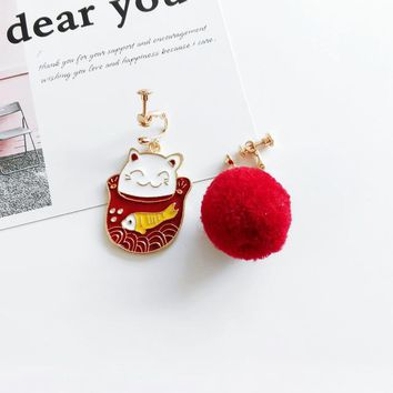 Maneki Neko Fortune Lucky Cat Earrings Asymmetric Red Wool Ball Clip Earrings No Piercing Hole For Festive Occasions Celebration