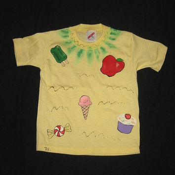 Tee Shirt Handpainted with Ice Cream, Apple, Cupcake & Candy, Short Sleeves, Jerzees 2-4 XS