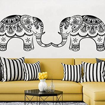 Elephant Wall Decal Family Decals Indian Boho Bedding Vinyl Sticker Elephant Floral Patterns Mandala Tribal Buddha Ganesh Home Decor NV157 (12x38)