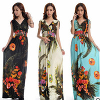 Beach Dress Plus Size 6XL Dresses Women Casual Clothing Bohemian Silk Floral V-neck Maxi Dress Casual Vestido C99