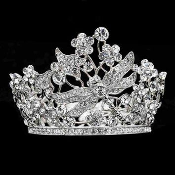 67191dccc14ddb Mini Round Dragonfly Tiaras Crowns Wedding Accessories for Little Girl  Gifts Clear Austrian Crystals